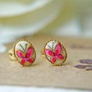 Vintage Butterfly Glass Cabochon Post Earrings. Gold Frame Bezel Setting