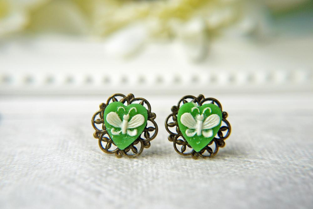Vintage Green Heart Butterfly Filigree Earrings. Antique Brass