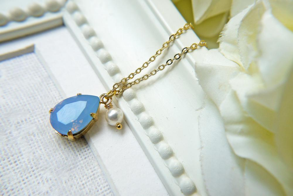 Swarovski Crystal Air Blue Opal Teardrop Pendant Necklace In Gold