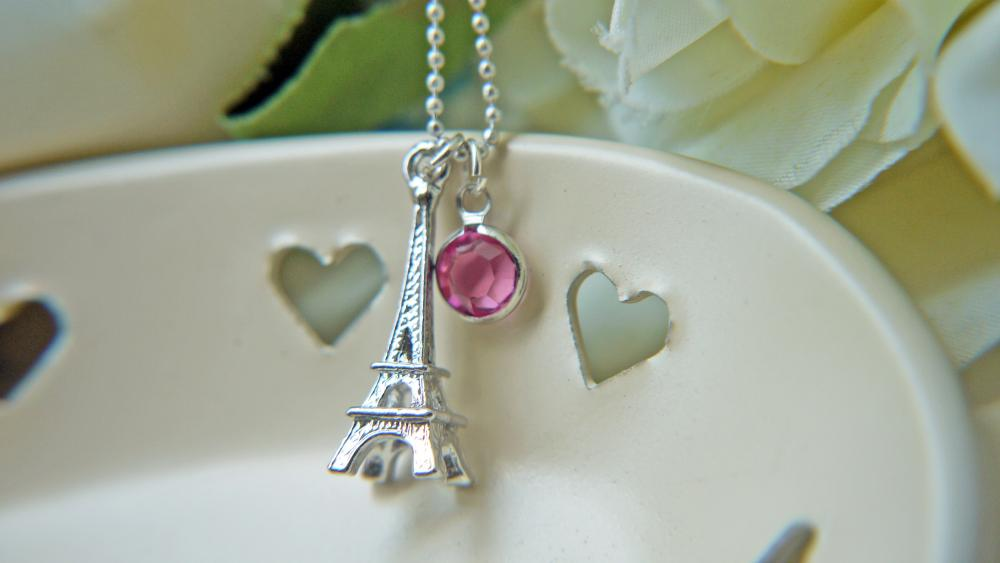 Eiffel Tower Silver Necklace Swarovski Crystal Rose Pink Romantic Paris La Vie en Rose