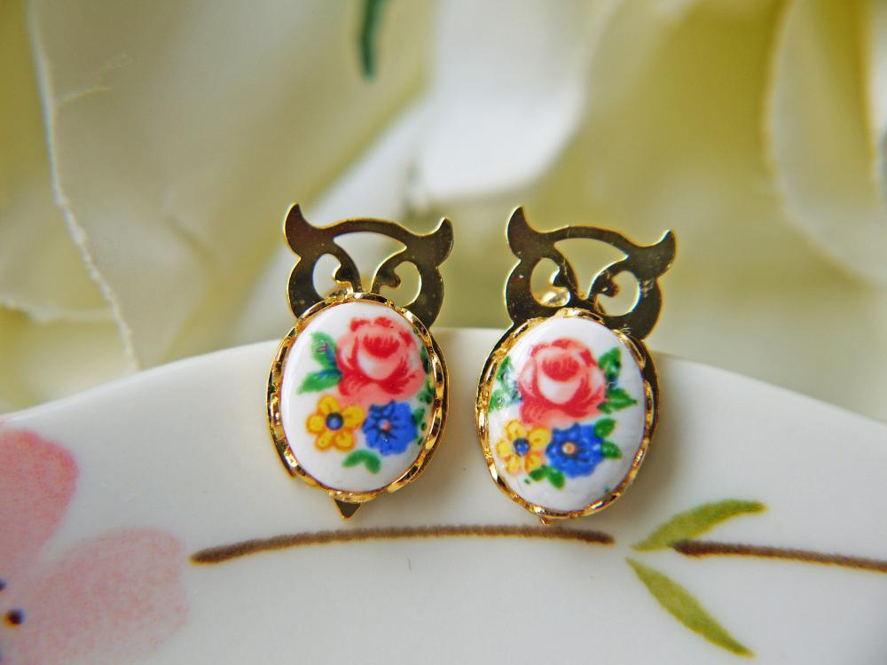 Fukuro Vintage Gold Owl Post Earrings. Spring Colorful Flowers. Lucky And Auspicious.