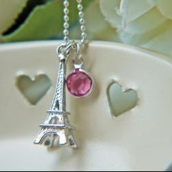 Eiffel Tower Silver Necklace Swarovski Crystal Rose Pink Romantic Paris La Vie en Rose