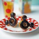 Mickey Mouse Inspired Doughnut Post Earrings. Hypoallergenic Titanium Posts
